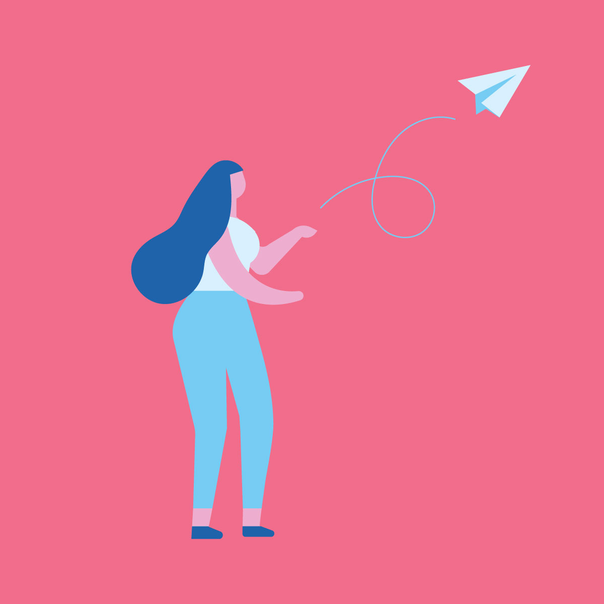Illustration of woman with long hair throwing a paper airplane into the air.
