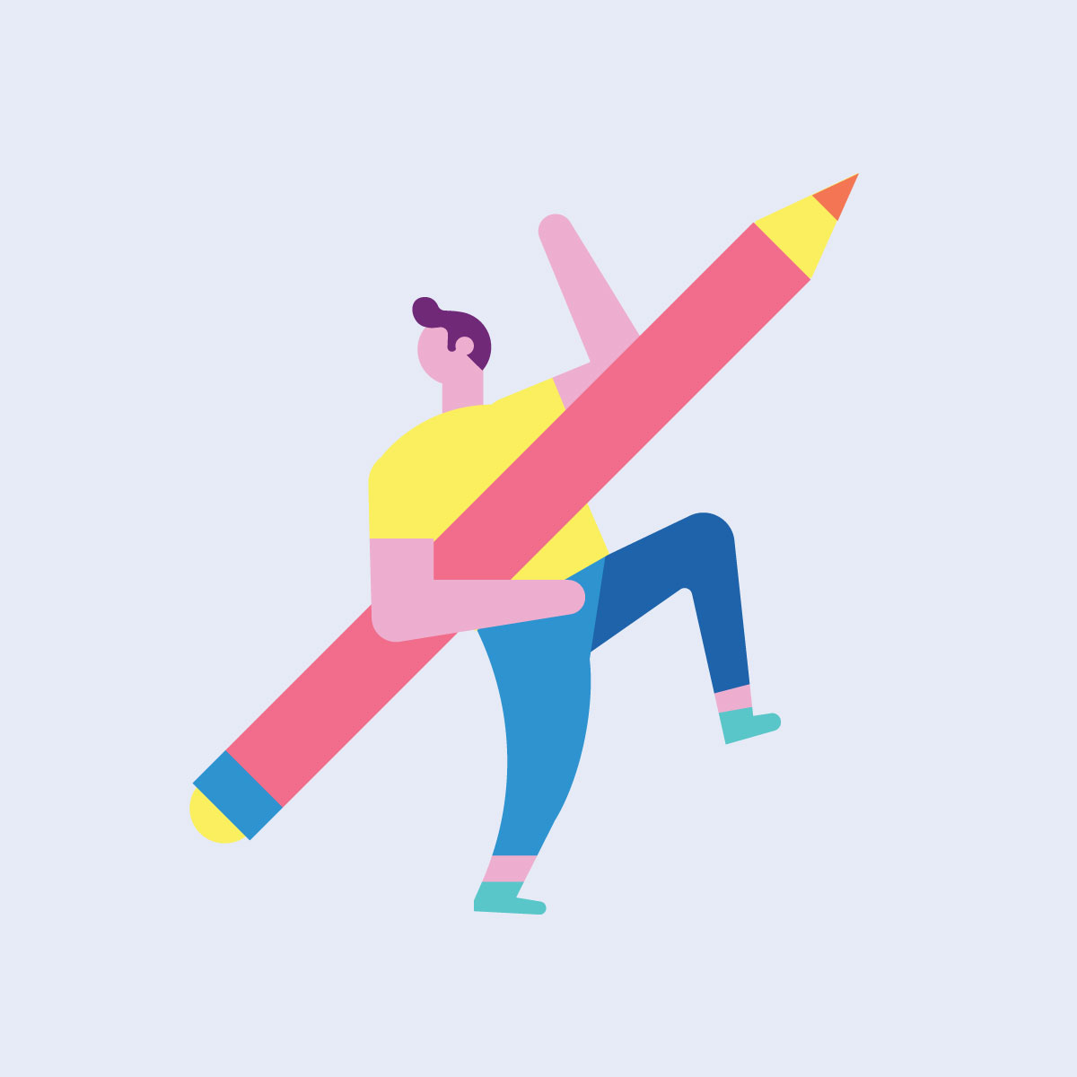 Illustration of man walking and holding a giant pencil while waving.