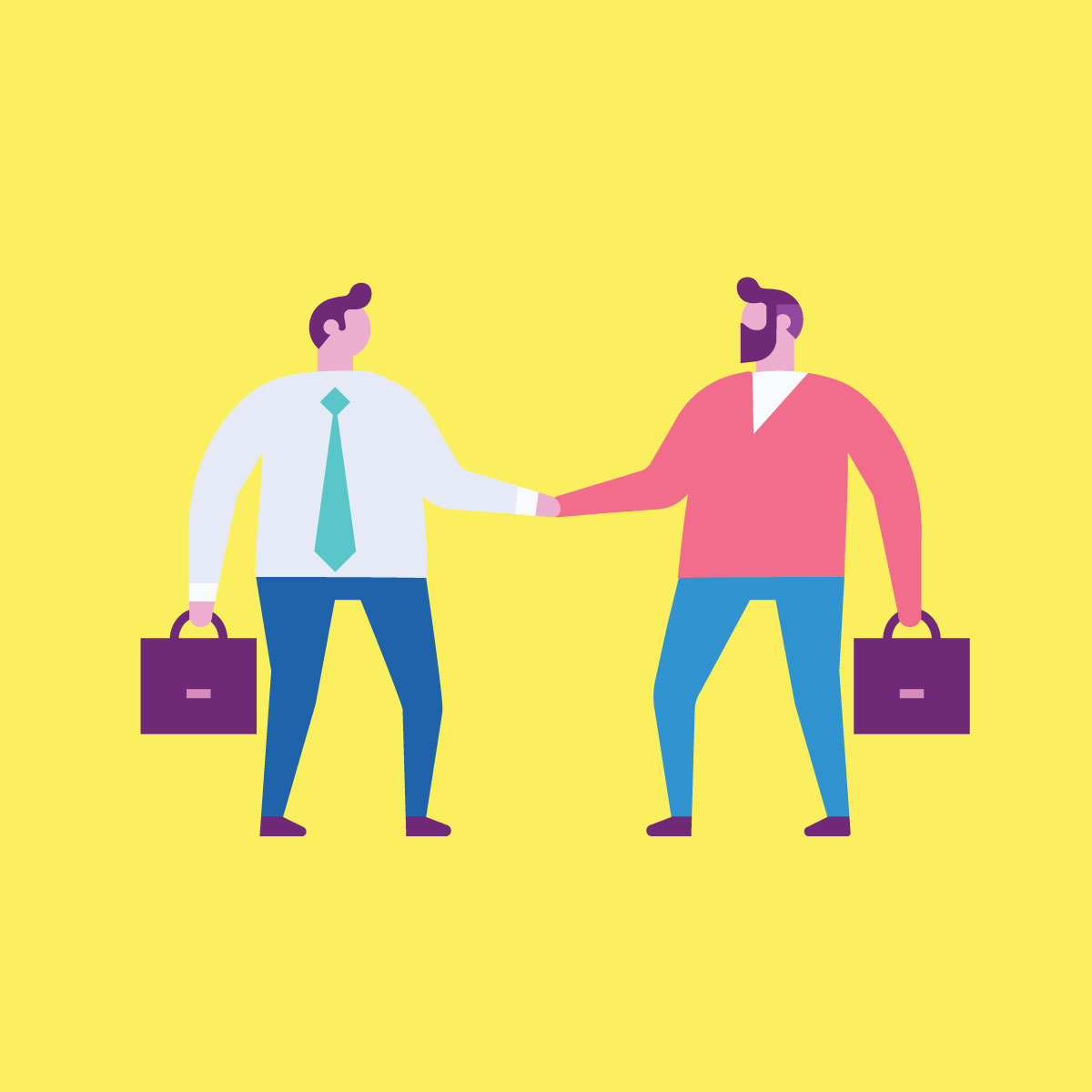 Illustration of two businessmen shaking hands, holding briefcases.