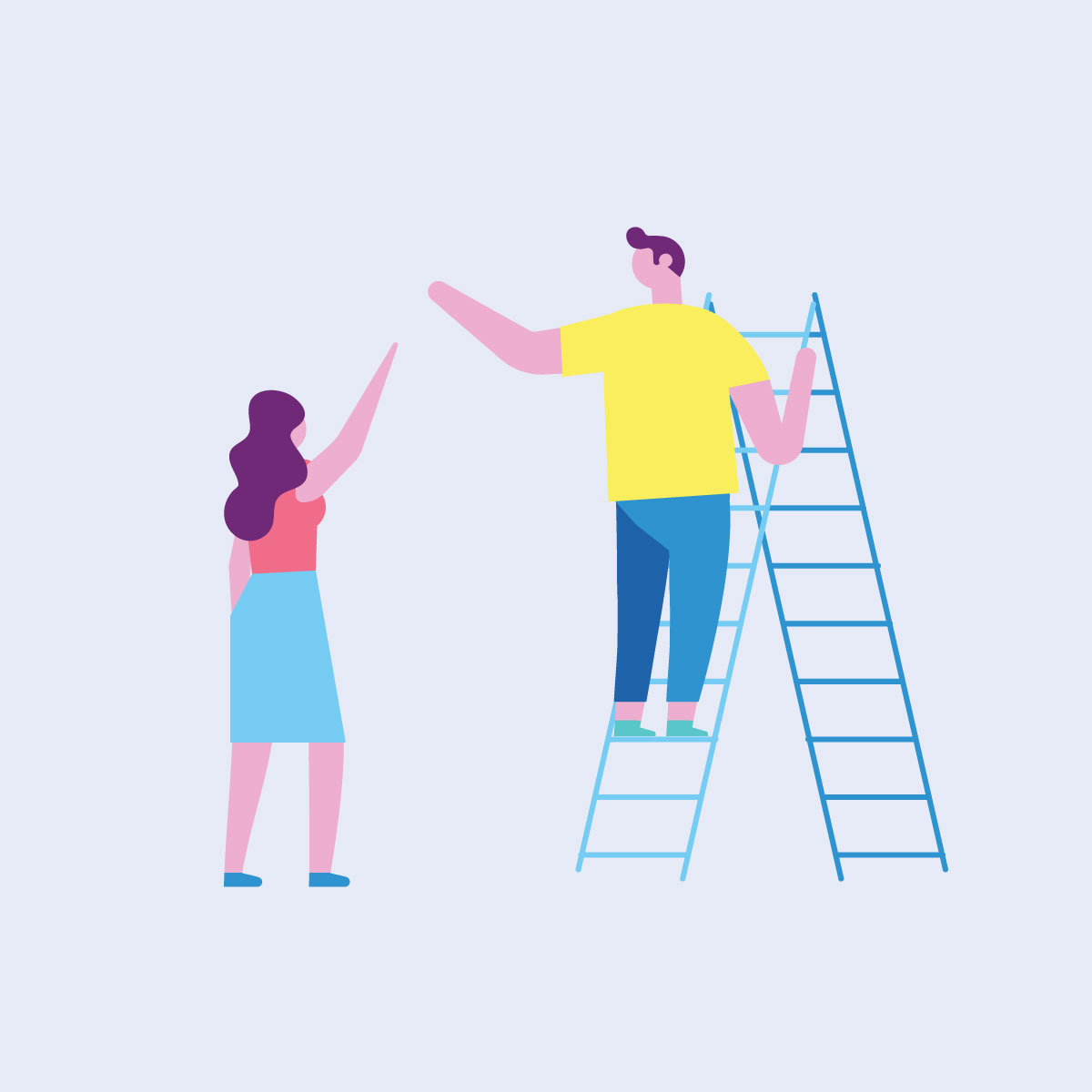 Illustration of woman holding up her arm to a man standing on a ladder, reaching back to the woman.