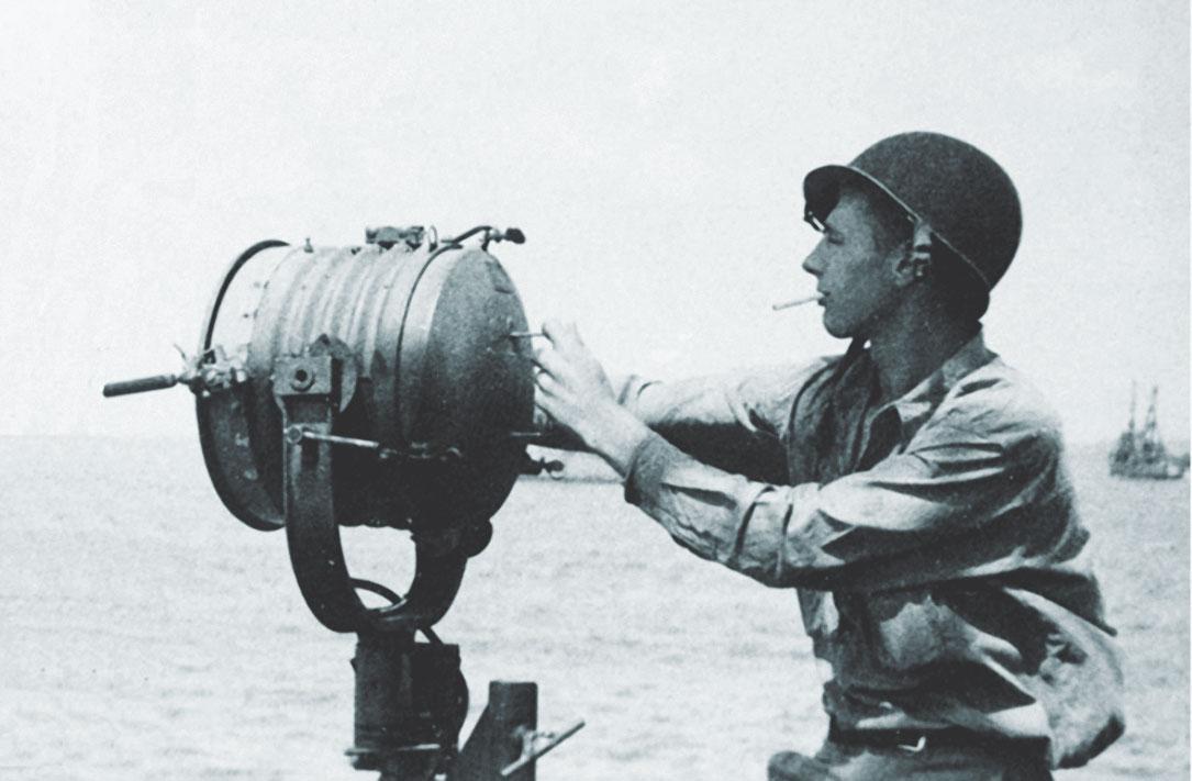 Len Gardner working as a signalman out at sea.