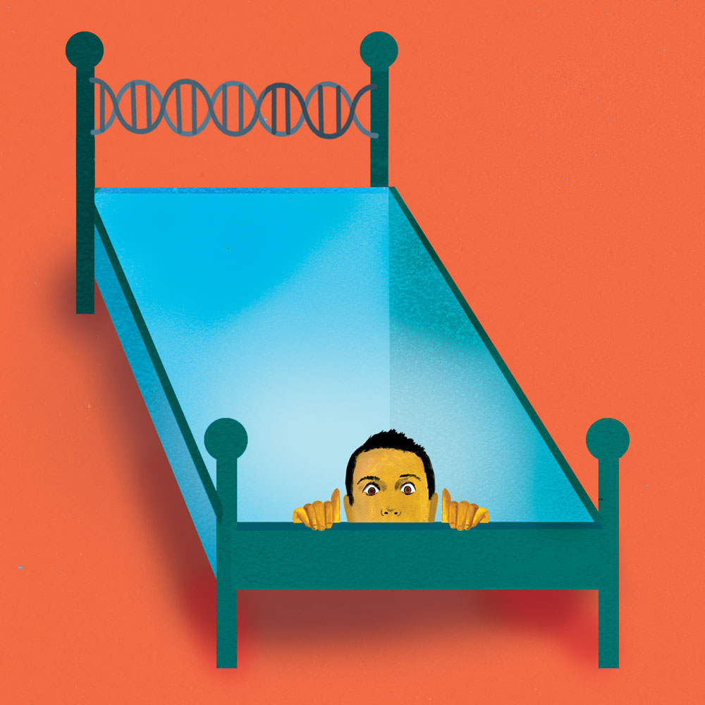 Illustration of a man's head popping out from a hole in his twin-sized bed.