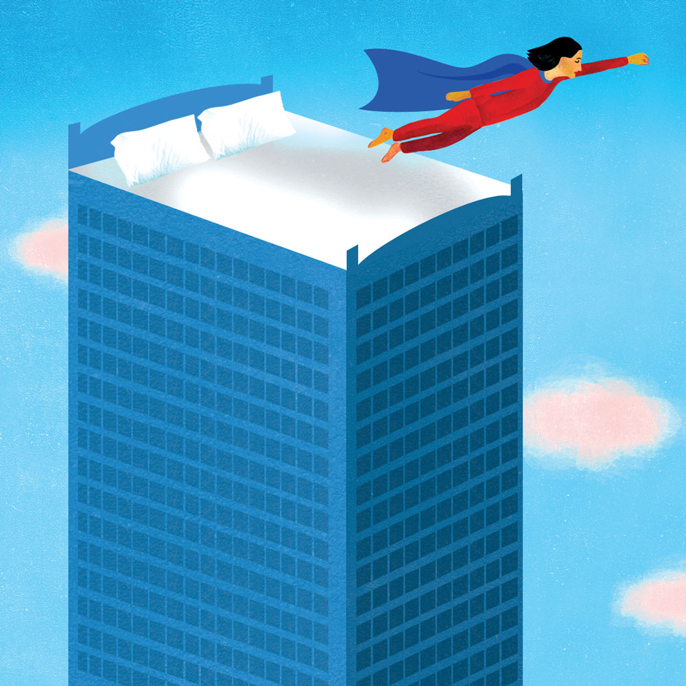 Illustration of a bed on top of a skyscraper with a woman wearing pajamas and a cape, jumping off and flying away.