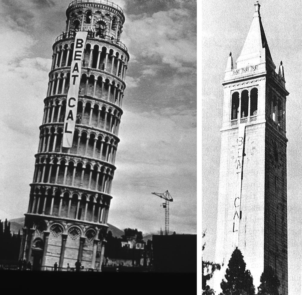An 80-footer in Pisa (left), (Photo: Courtesy of Stanford News Service), Campanile Tower in the heart of Cal's Campus (Photo: Stanford Quad 1960)
