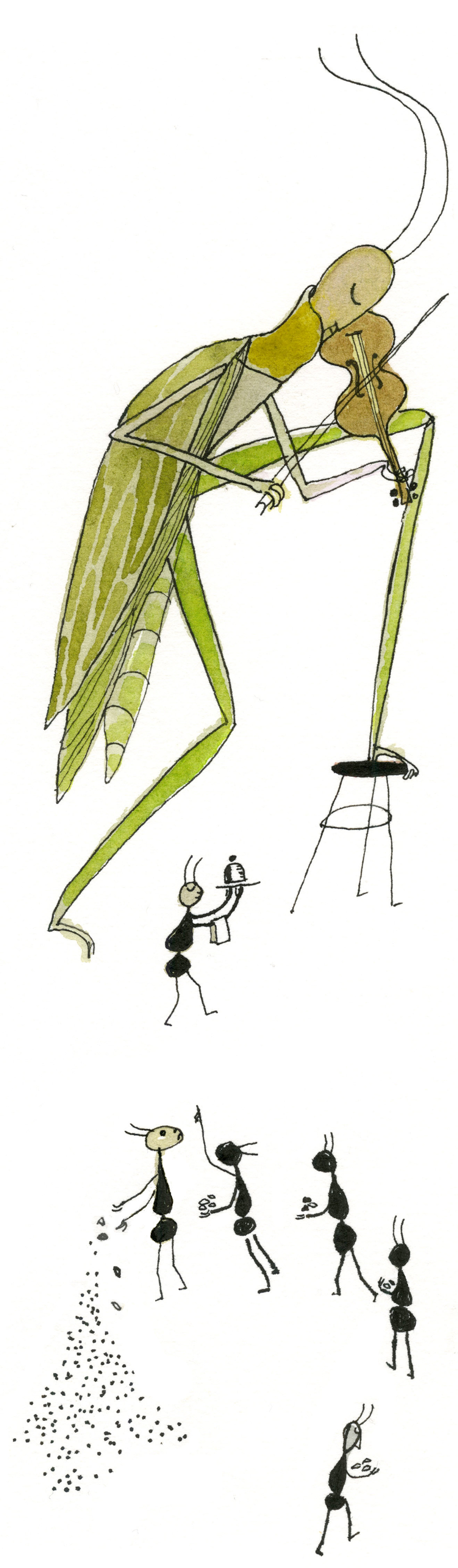 Illustration of the Grasshopper and the Ants