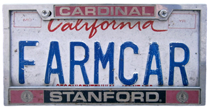 Silhouette of California license plate with the phrase FARMCAR