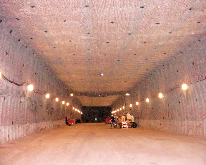 subterranean tunnel in a New Mexico salt mine