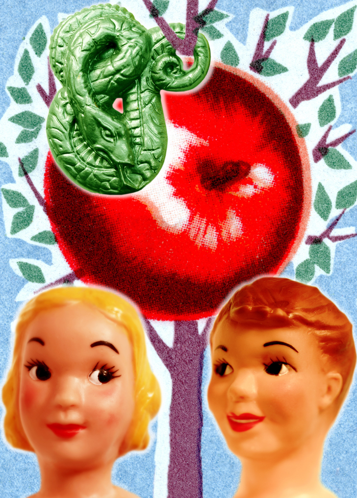 Adam and Eve with the apple and snake