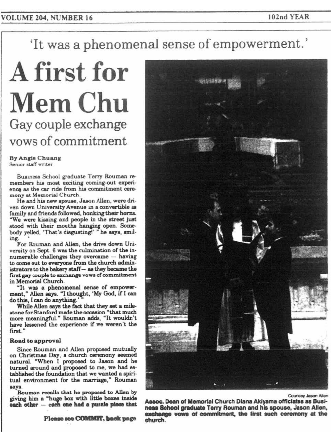 The cover of the Daily newspaper. The title of the opening article is 'A first for Mem Chu: Gay couple exchange vows of commitment.'