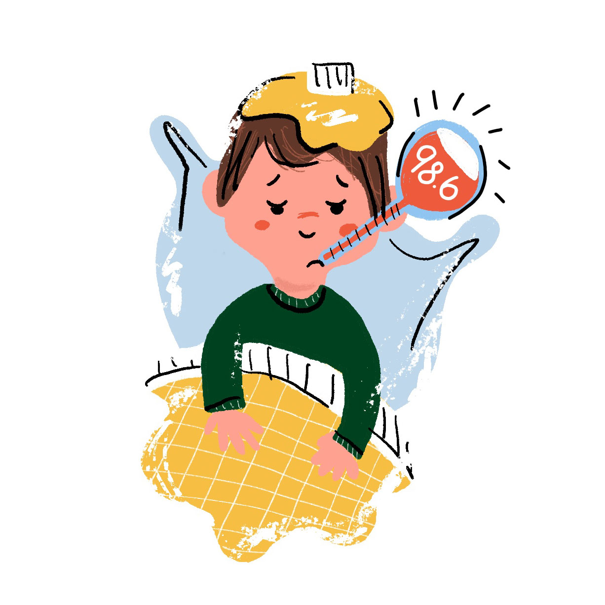 Illustration of young boy sick in bed with a thermometer and a teddy bear.