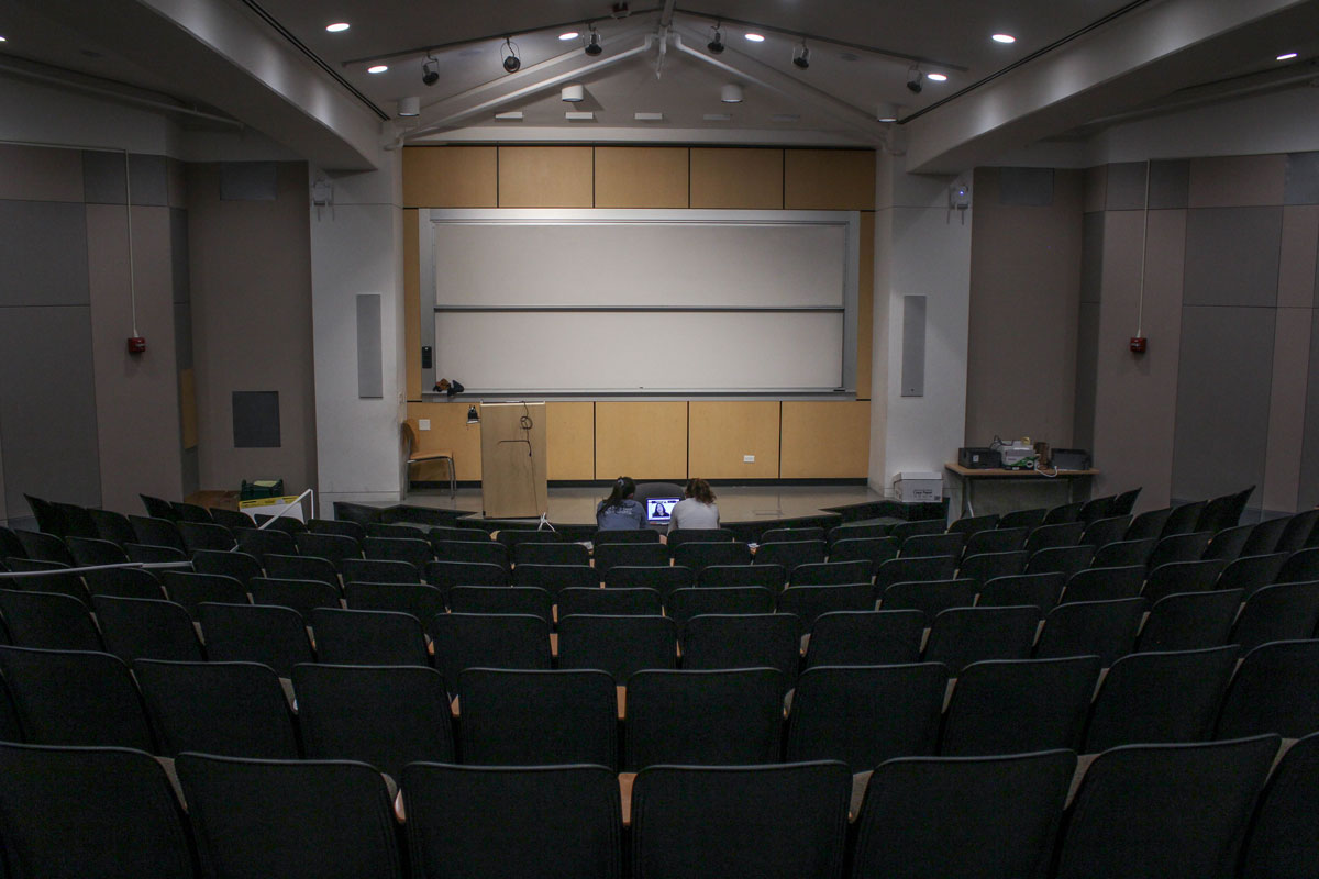 Empty classroom auditorium on Stanford University campus.