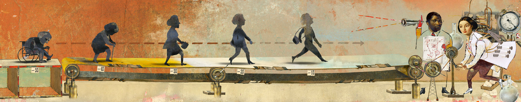 Illustration of people on a long treadmill
