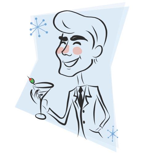 Illustration of man drinking a martini