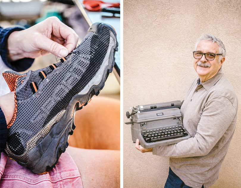 left, photo of a foot in a running shoe with a broken eyelet; right, photo of a man holding a typewriter