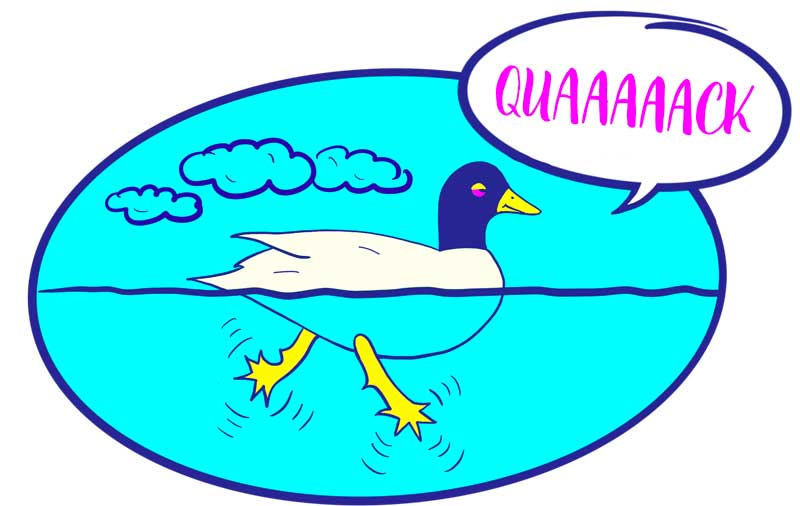 "Illustration of a duck swimming in water saying, ""Quack""."