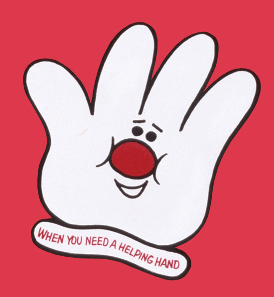 Illustration of the Hamburger Helper, a smiling glove with a red nose.