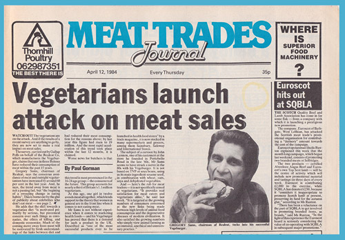 Meat Trades Journal front page newspaper.