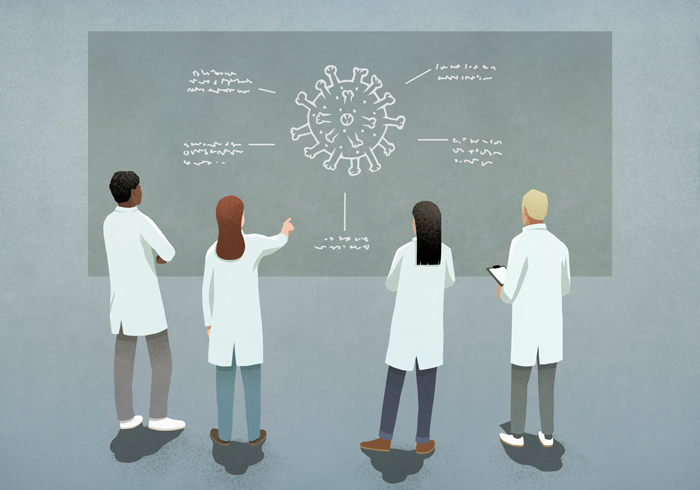 Illustration of scientists looking at a virus