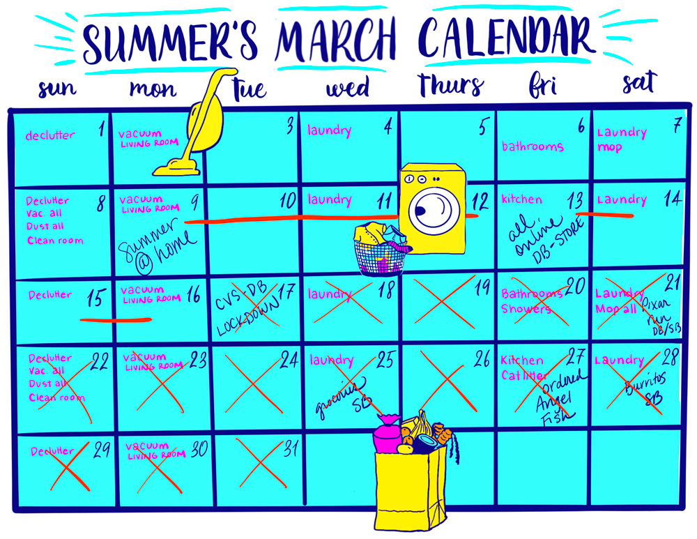 Illustration of a March calendar with daily chores.