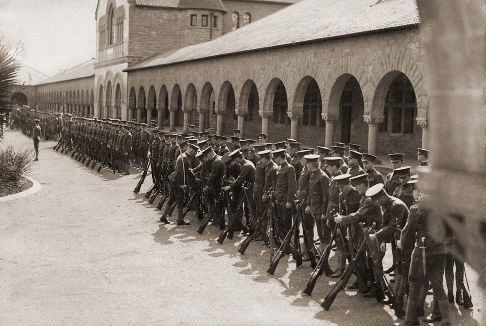 Soldiers lining up on campus