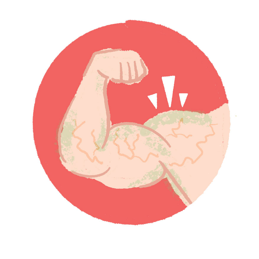 Illustration of a man flexing his bicep.