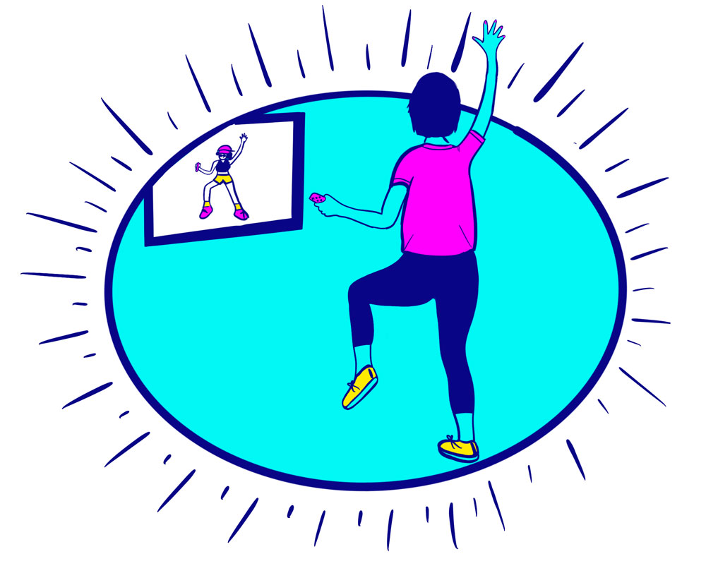 Illustration of a woman working out in front of a television.