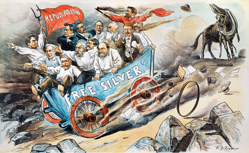Illustration of men in a runaway wagon that broke free from a horse that says Free Silver on it and one holding a pitchform and a flag that says repudiation on it