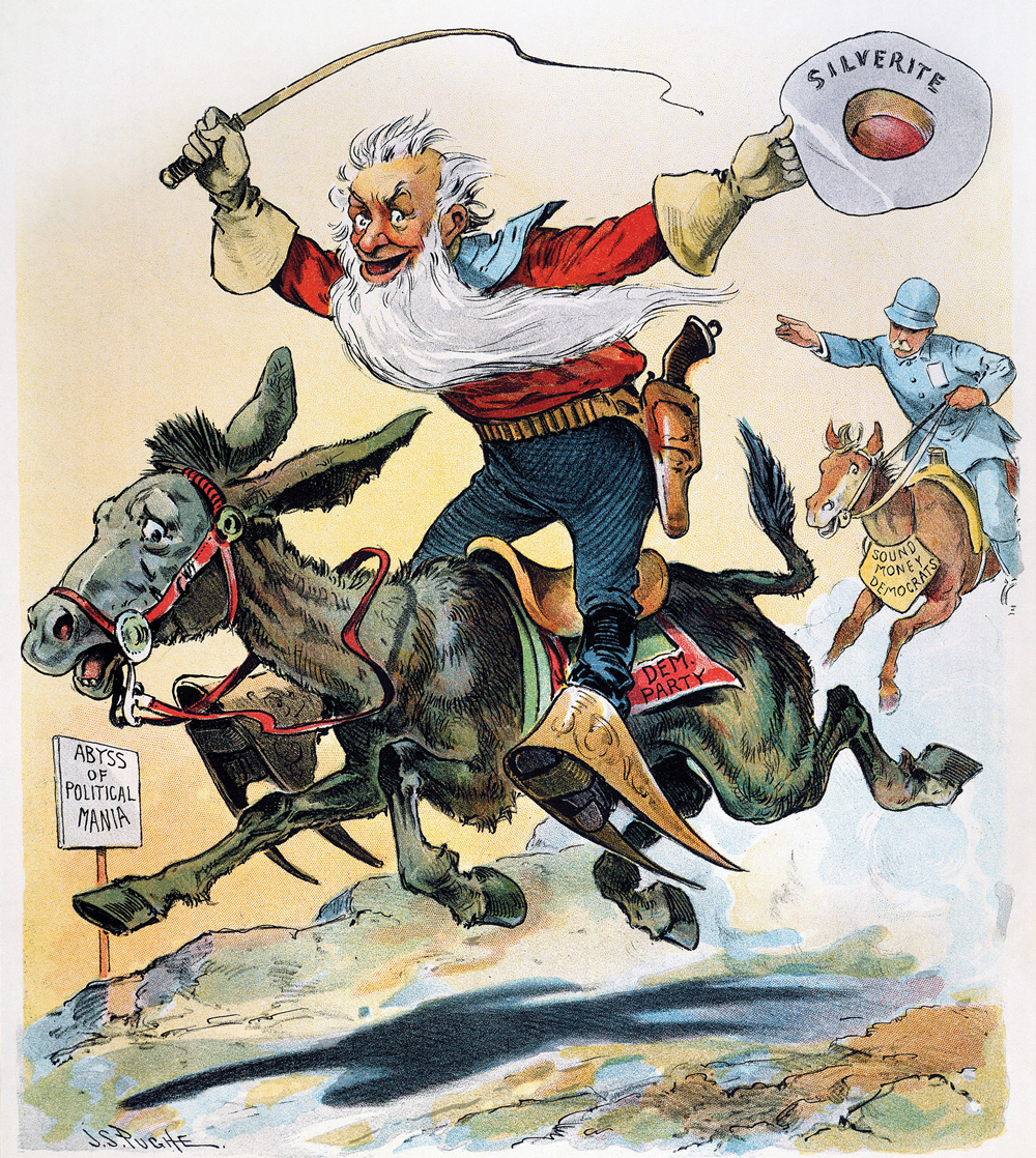 Man with a long white beard with a whip in one hand and a hat in the other that reads Silverite on a horse and being chased by a policeman. They are passing a sign that reads Abyss of Political Mania.