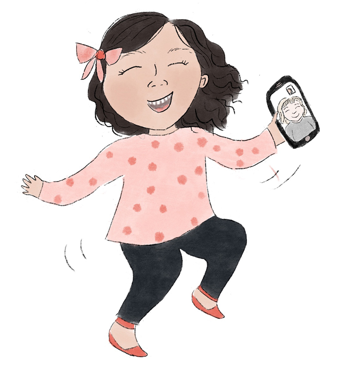 Illustration of little girl doing a happy dance holding a cellphone.