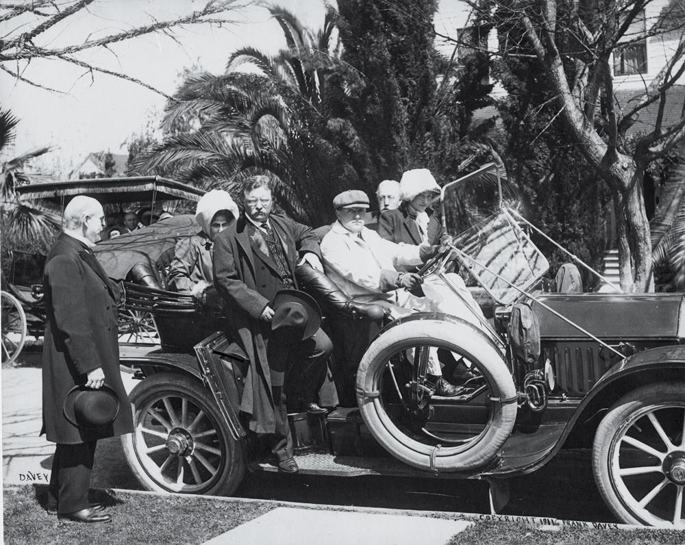 Theodore Roosevelt in a car with John Casper Branner and Jordan