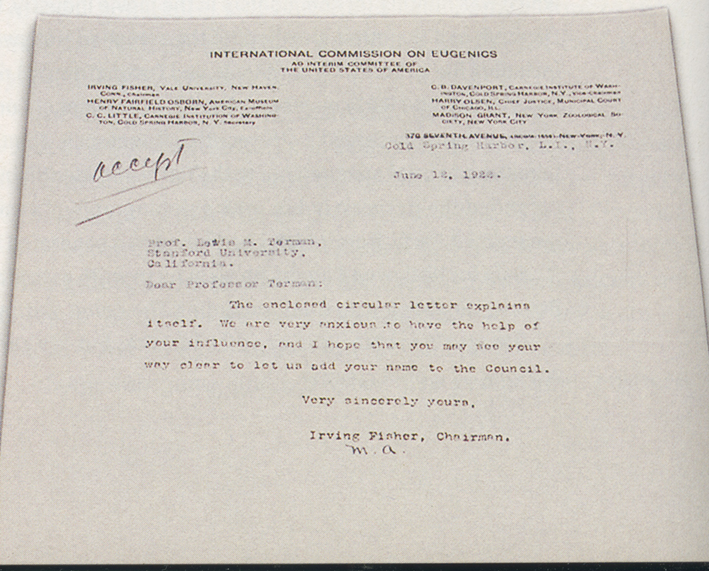Letter from the International Commission on Eugenics