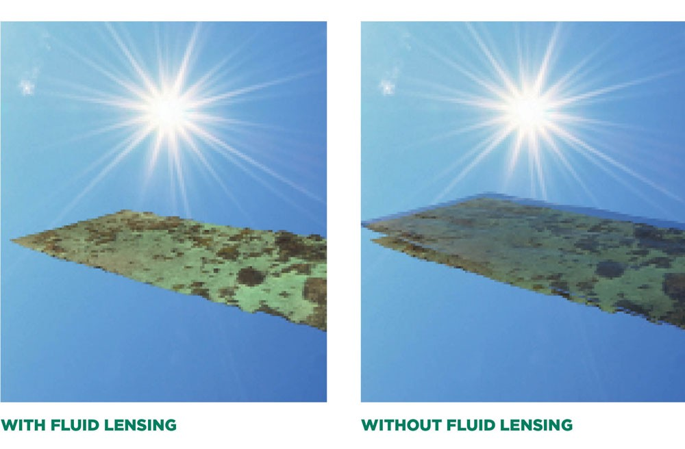 Two images showing the impact of fluid lensing. In the image without fluid lensing, water dims the seafloor and little can be seen. With fluid lensing, the impact of the water is virtually eliminated.