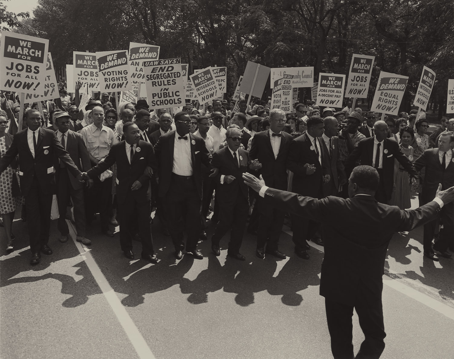 A group of people marching during the March on Washington