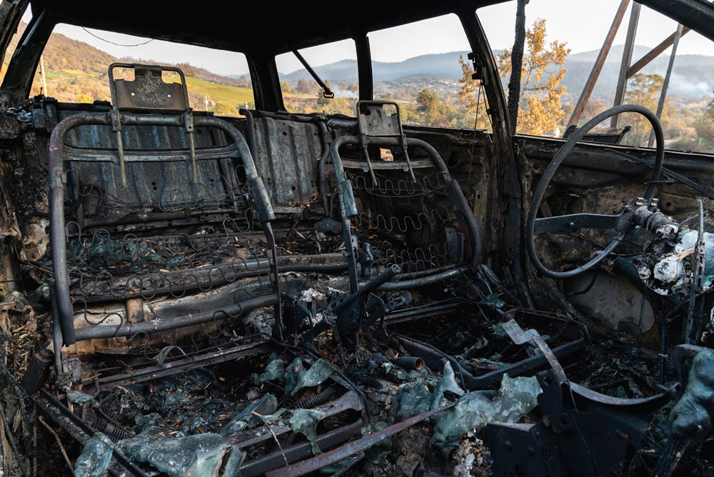 The burned-out inside of a car