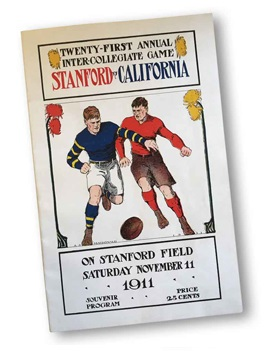 """A poster of two students competing in rugby. It reads: """"Twenty-first annual intercollegiate game. Stanford vs. California."""""""