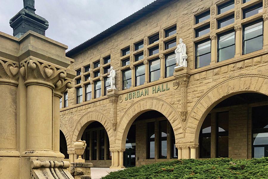 Exterior of Jordan Hall building on Stanford Campus