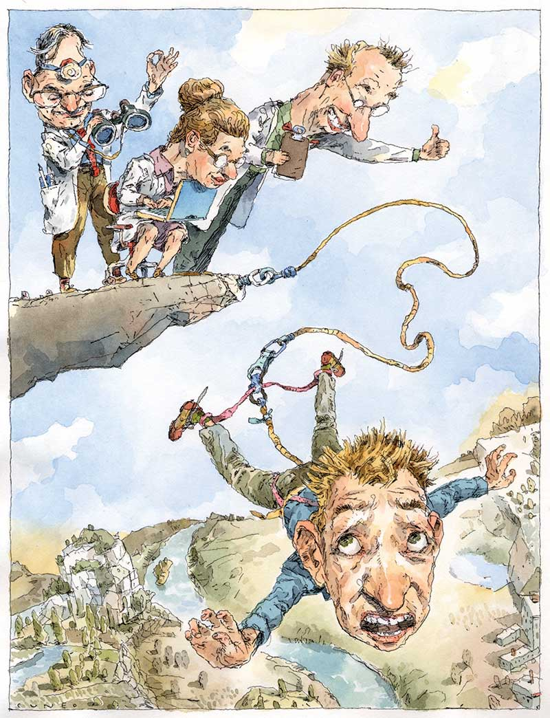 A cartoon of a man bungee jumping off a cliff over a hilly valley. On the cliff above him are three doctors all of whom are observing him eagerly.
