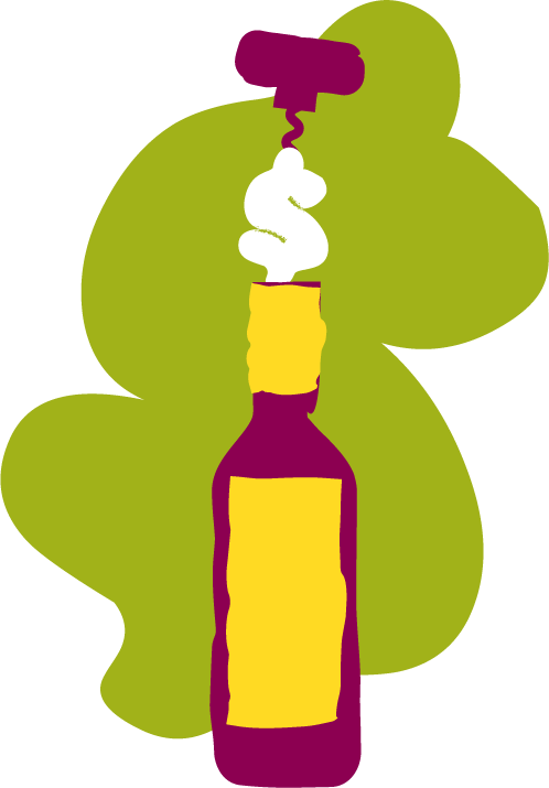 Illustration of a bottle of wine being uncorked and the bottle opener has a dollar sign on the bottom as it comes out of the bottle