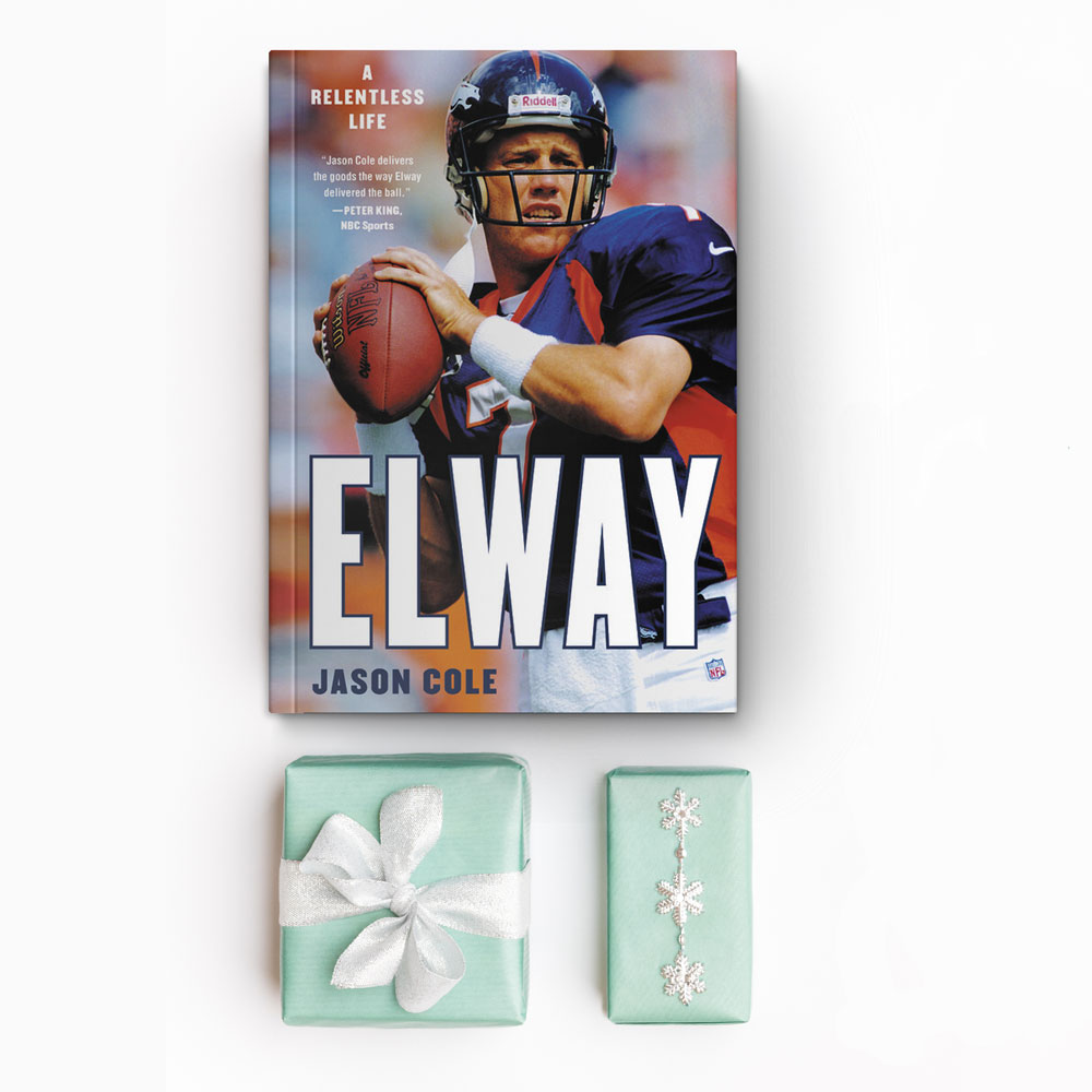 Elway: A Relentless Life book with two presents on a white background