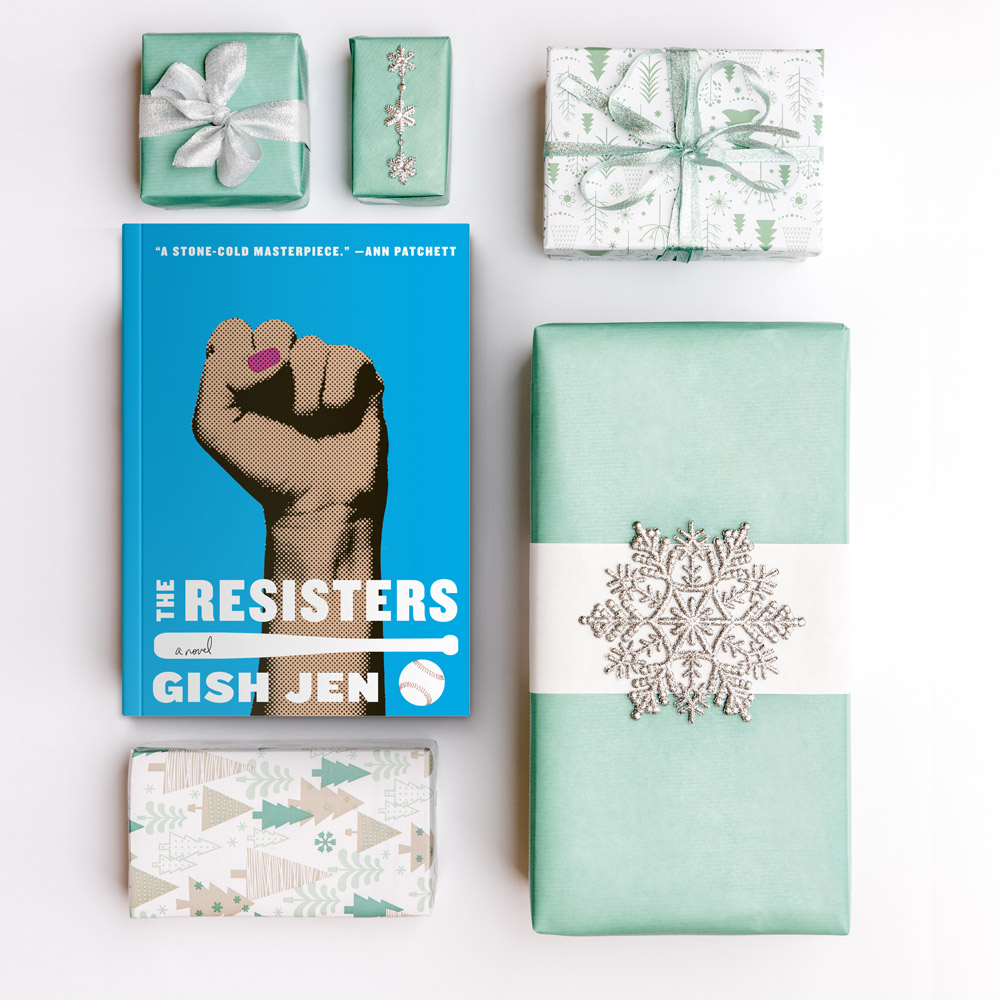 The Resisters book and four presents on a white background