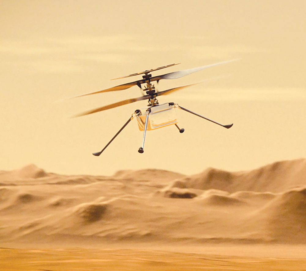 Rendering of a drone flying over sand dunes.