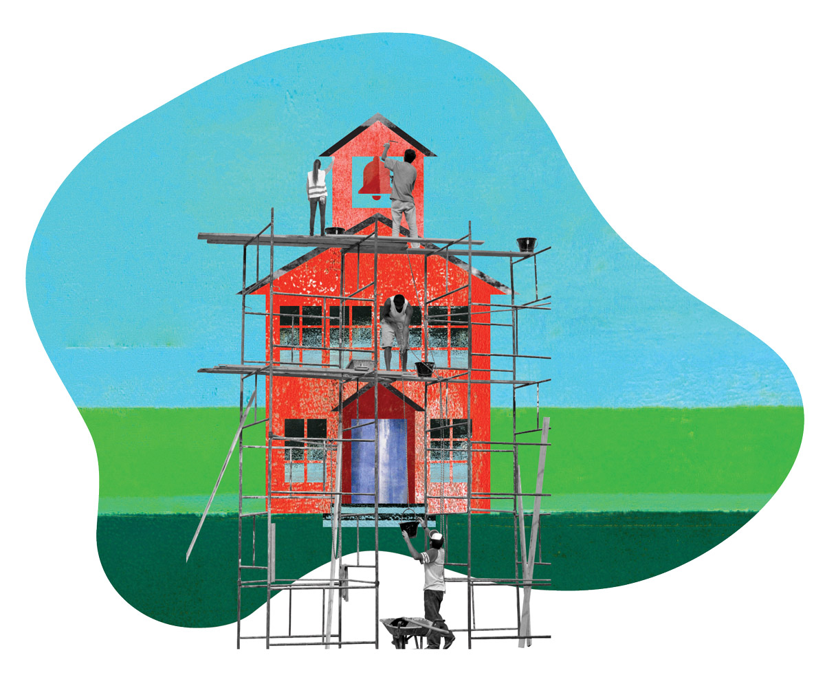 Illustration of a school being repaired