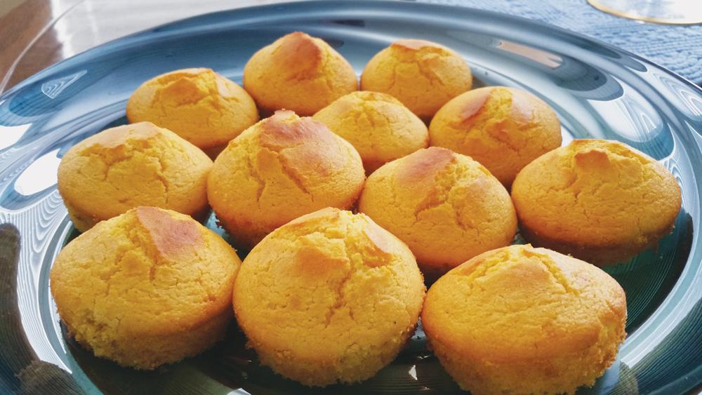 Plate of cornbread muffins