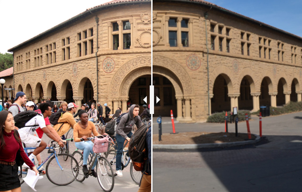 Split screen of campus crowded and campus empty