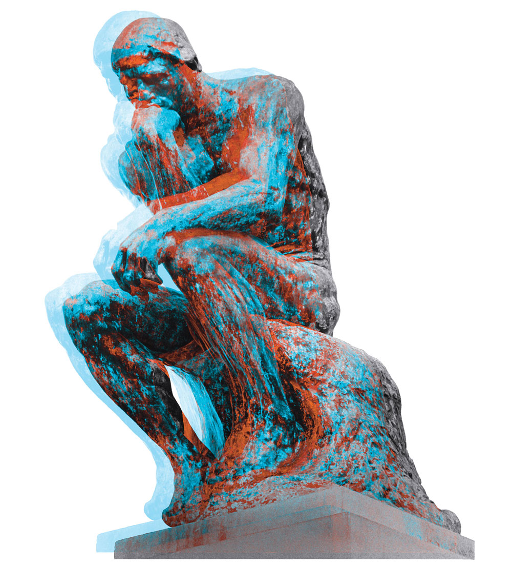 3-D stylized image of Rodin's The Thinker.