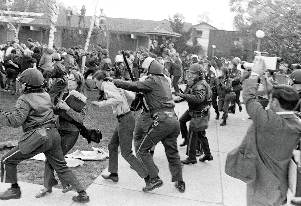 Protesters and police clashing outside the Stanford Computation Center at Pine Hall after the U.S. attack on Laos in February 1971.