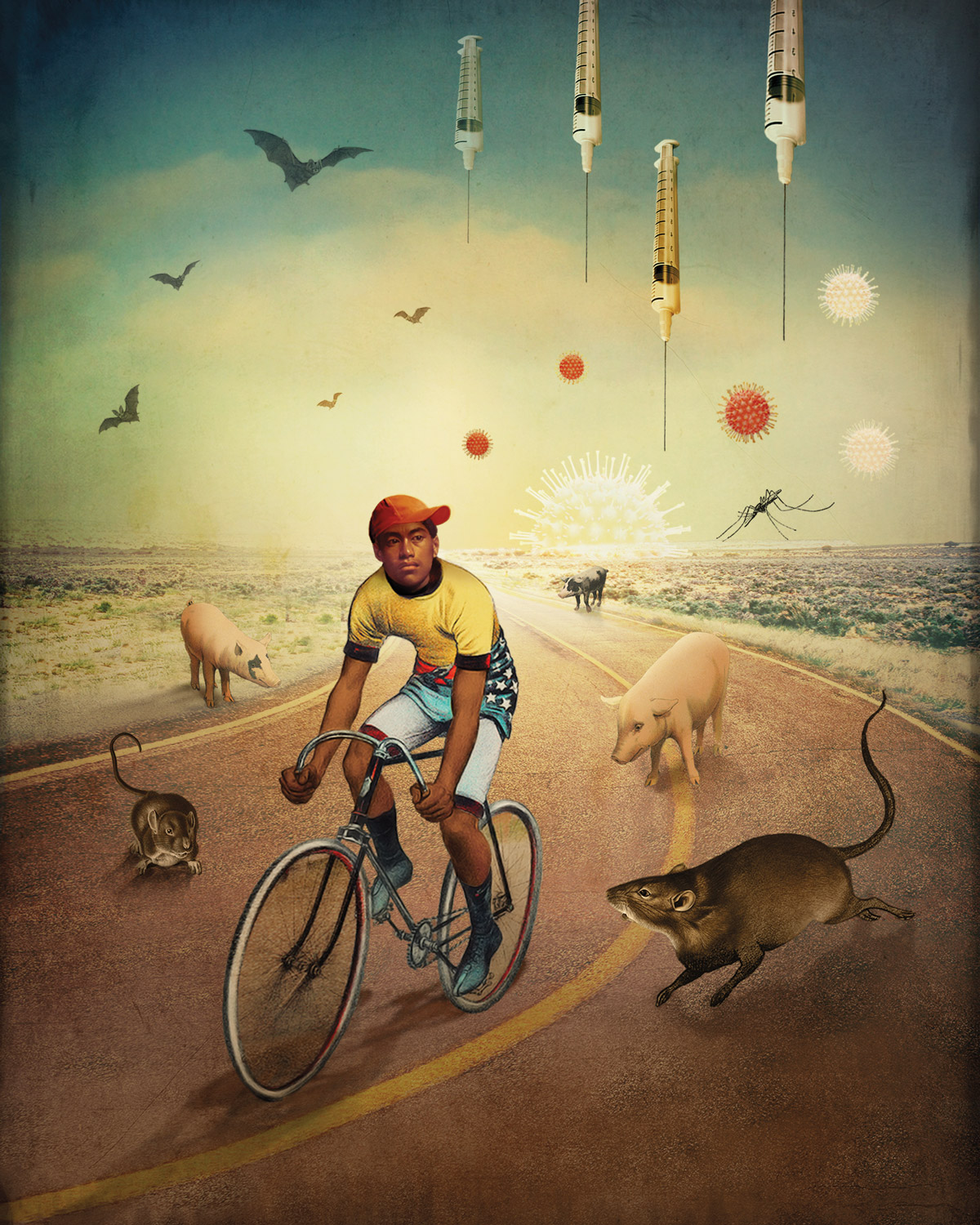 Man riding bike on a desert freeway surrounded by animals and insects