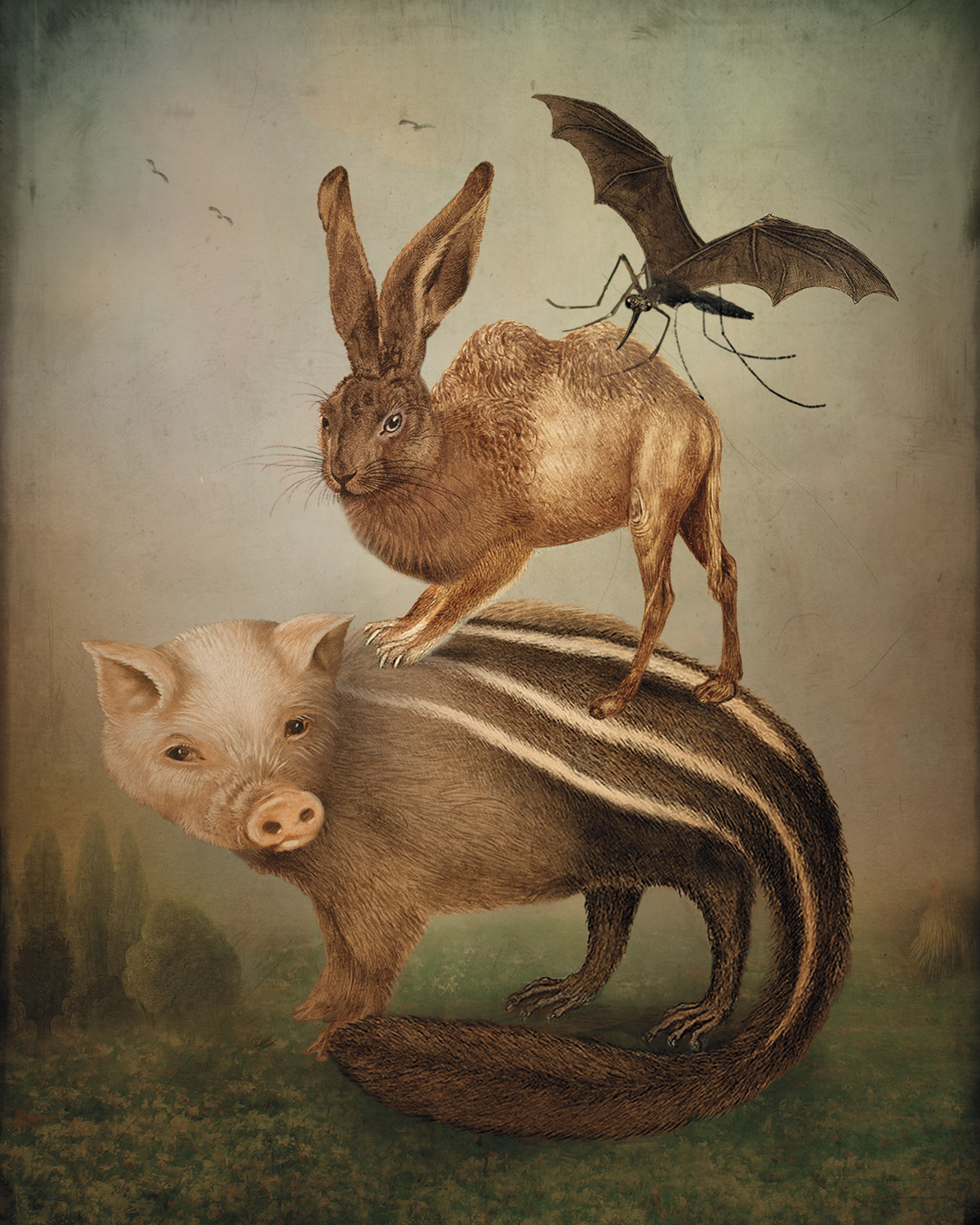 Illustration oof animals combined with other species