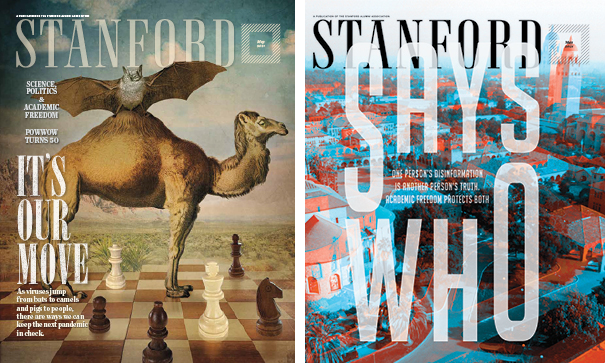 Side by side covers. The left with a camel and a bat and the right with the campus.