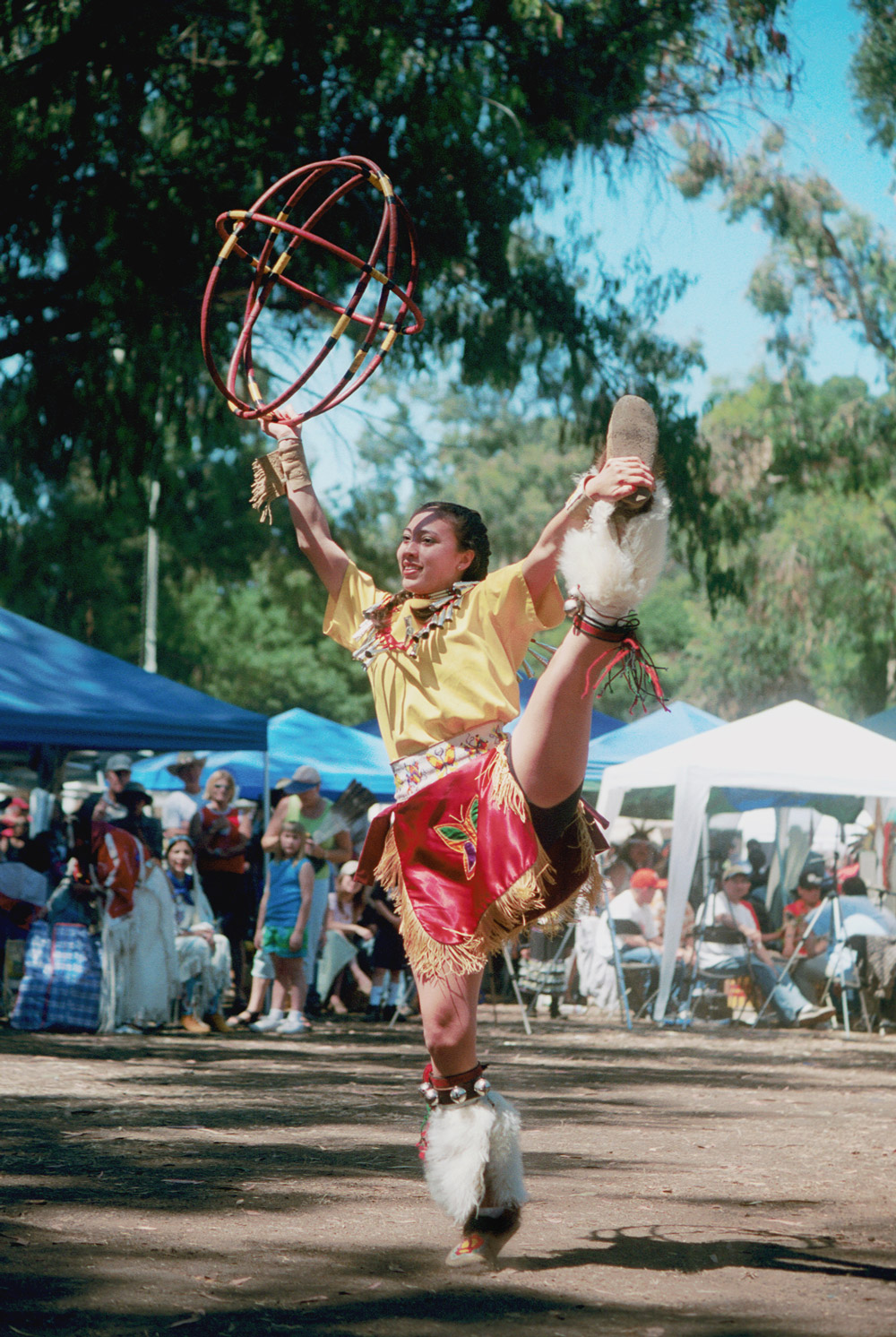 Ginger Sykes Torres performing a dance on Stanford campus.